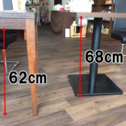 机の高さは62cmと68cmのものがあります。