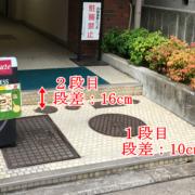 南側入口 1段目:10cm、2段目:16cm