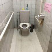 車椅子のままトイレに入ることができます。手すりも完備しています。